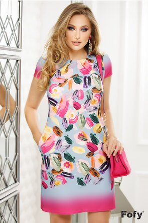 Rochie Fofy imprimeu floral multicolor, croi lejer cu pliuri la decolteu