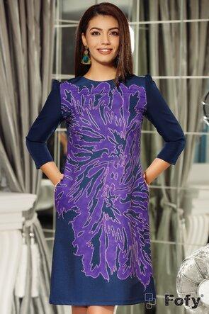Rochie Fofy mov cu imprimeu floral stilizat