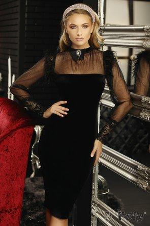 Rochie Fofy mulata, croita din catifea neagra cu maneci din tulle cu glitter fin si brosa detasabila cu detalii din pene naturale si dantela in zona mansetelor