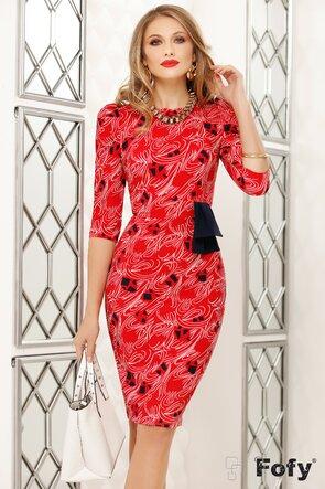 Rochie Fofy rosie cu esarfa in contrast
