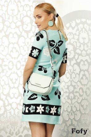 Rochie Fofy turcoaz cu imprimeu floral