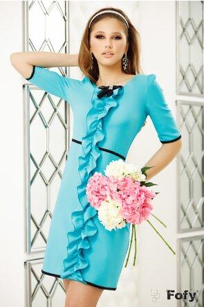 Rochie Fofy turquoise cu volan stilizat