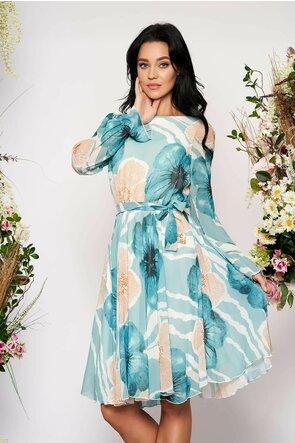 Rochie Fofy vaporoasa din voal imprimat floral