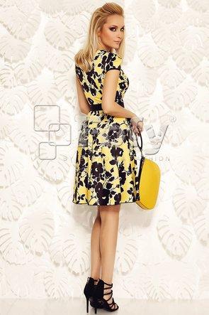 Rochie galbenă amplă cu print floral negru