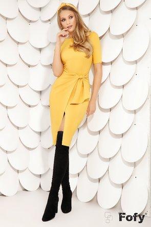 Rochie galbenă cu volan stilizat