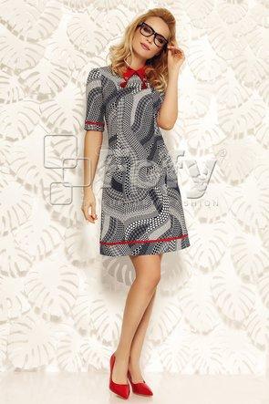 Rochie imprimeu geometric cu guler și vipușcă roșie