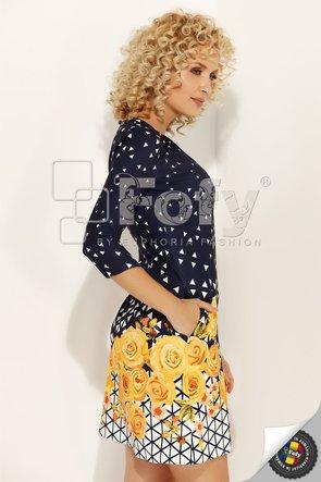 Rochie în A cu print geometric și floral galben