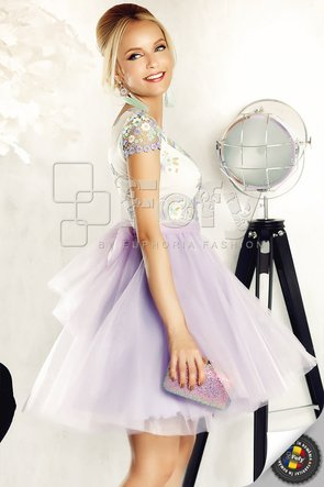 Rochie lila amplă de ocazie din tulle și dantelă pastelată cu flori brodate