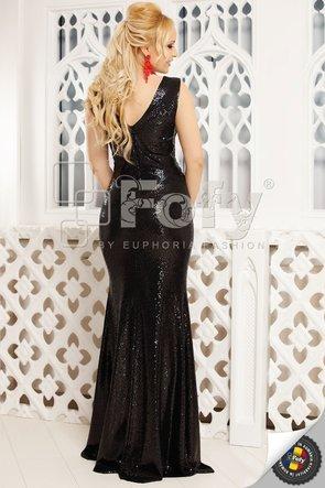 Rochie lungă din paiete negre și cu decolteu în V