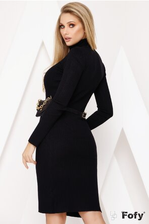 Rochie midi tricotata neagra cu gentuta inclusa