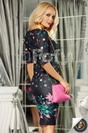 Rochie mulată cu imprimeu mov-verde