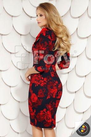 Rochie bleumarin cu flori roșii