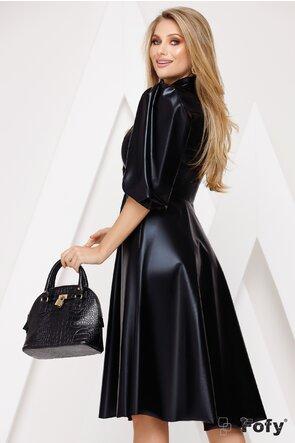 Rochie neagra din piele ecologica cu maneci bufante