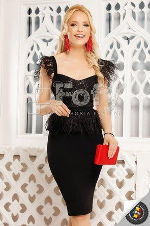 Rochie neagră midi cu paiete și fulgi