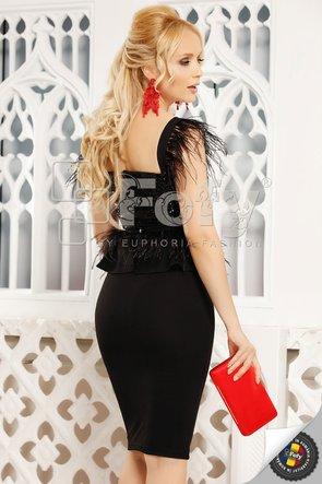 Rochie neagră midi cu paiete și pene