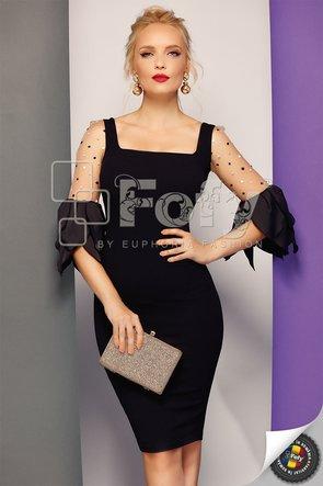 Rochie neagră mulată cu mâneci petale