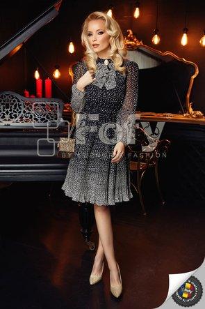 Rochie Fofy neagră plisată cu bulinuțe albe în degrade