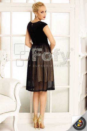 Rochie plisată cu bust din catifea neagră