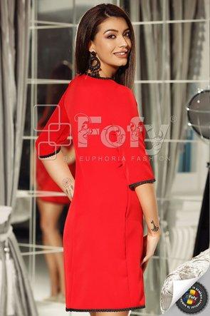 Rochie roșie cu croi în A și fundă decorativă
