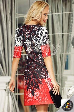 Rochie roșie cu print digital