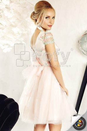 Rochie roz amplă de ocazie din tulle și dantelă pastelată cu flori brodate