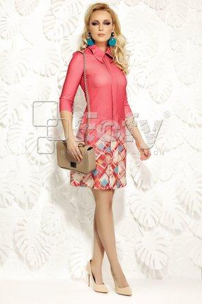 Rochie roz cu bordură imprimată romburi