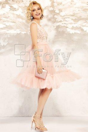 Rochie roz de ocazie din tulle și broderie 3D