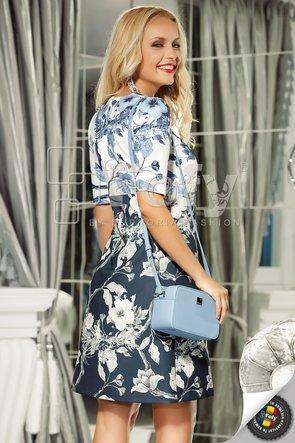 Rochie spectaculoasă bleumarin cu imprimeu floral duo