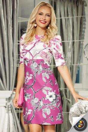 Rochie spectaculoasă magenta cu imprimeu floral duo