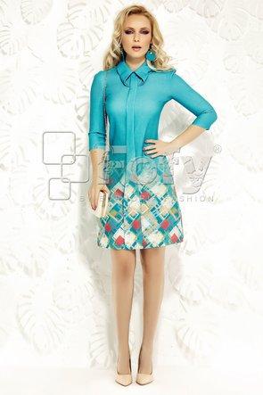 Rochie turquoise cu bordură imprimată romburi
