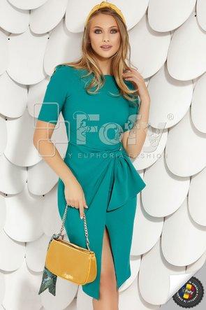 Rochie turquoise cu volan stilizat