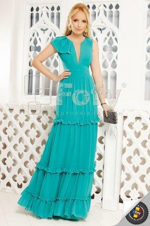 Rochie turquoise lungă cu volane