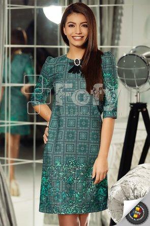 Rochie verde cu print geometric și floral