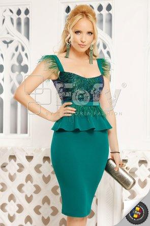 Rochie verde midi cu paiete și fulgi