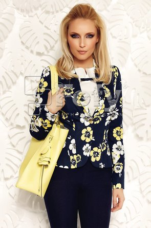 Sacou cambrat bleumarin cu flori albe și galbene
