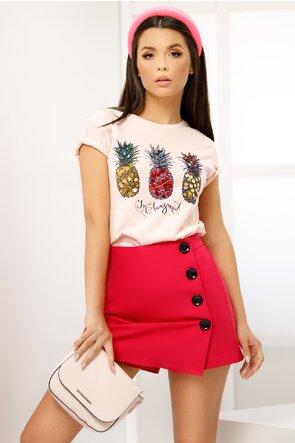 Tricou roz imprimeu ananas cu aplicatii paiete si margele