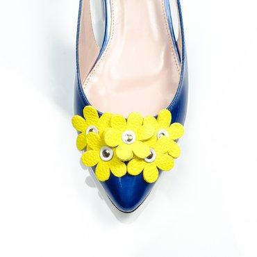 Balerini albastrii cu galben din piele naturala Top