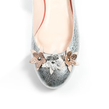 Balerini argintii cu model floral din piele naturala Mango