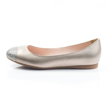 Balerini piele bronz cu glitter argintiu Coral