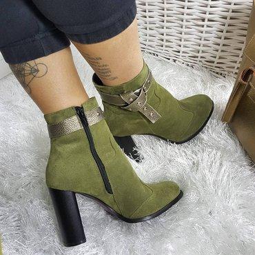 Botine  piele naturala kaki Parma