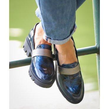 Pantofi albastri din piele naturala Lera