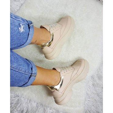Pantofi casual bej din piele naturala Oxi 6005