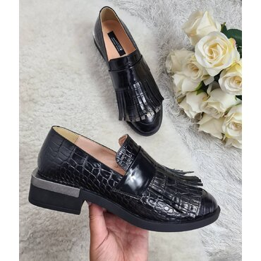 Pantofi casual din piele naturala neagra Zelda