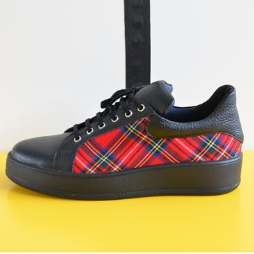 Pantofi casual negrii din piele naturala cu textil carouri Alesia