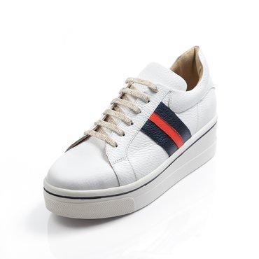 Pantofi casual piele alba cu bleumarin Alesia