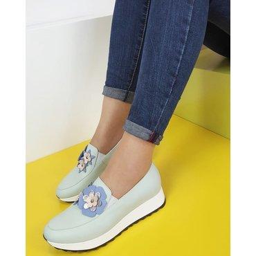 Pantofi casual sport verde pal din piele naturala cu aplicatii florale Klara