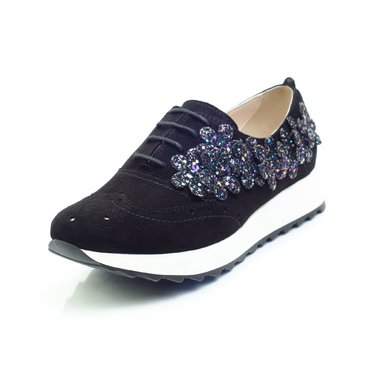 Pantofi dama piele intoarsa neagra Young Sport cu floricele glitter