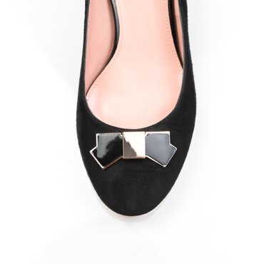 Pantofi de dama camoscio negru Elisabeta cu funda Agnes