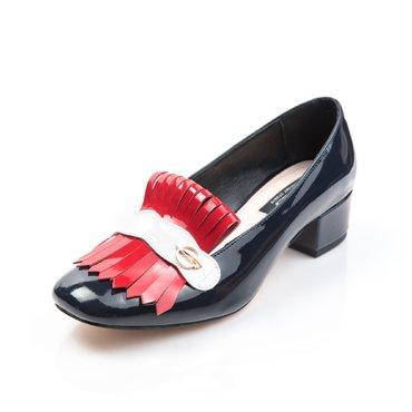 Pantofi de dama lac bleumarin cu franjuri Nikol