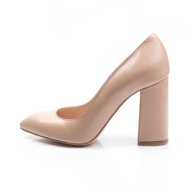 Pantofi de dama piele bej Vanesa cu toc evazat